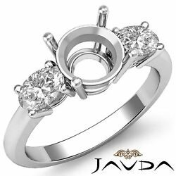 Diamond 3 Stone Engagement Oval Round Semi Mount Solid Ring 14k White Gold 0.5ct