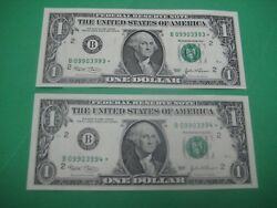 Two 2003 1 Star Notes New York Federal Reserve Consecutive S Crisp Unc