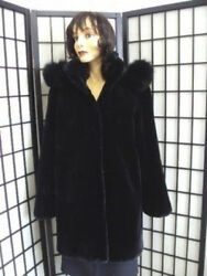 Brand New Black Sheared Beaver And Fox Fur Jacket For Women Woman Size All