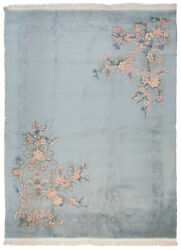 Rra 9x12 Chinese Art Deco Design With Shadow Border Light Silver Blue Rug 19158