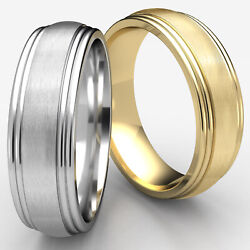 7.5mm Comfort Fit Satin Center Double Round Edge Menand039s Wedding Band Gold Ring