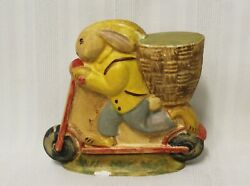 Bunny On Scooter 19 Rich Connolly Antique Chocolate Mold Folk Art Chalkware