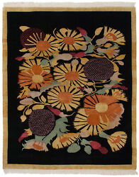Rra 8x10 7and03910x9and0397 Indo Art Deco Sunflower Design Black And Gold Rug 16777
