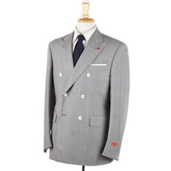 Nwt 3895 Isaia Modern-fit 'gregory' Light Gray Fine Striped Wool Suit 40 R