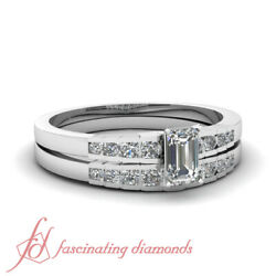 Cheap Diamond White Gold Bridal Ring Sets For Women With Emerald Diamond 0.65 Ct