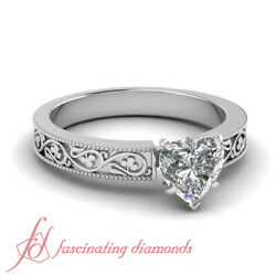 Shamrock Carved Solitaire Engagement Ring 0.50 Ct Heart Shaped Diamond Vs1 Gia