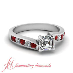 3/4 Tcw. Asscher Cut Diamond And Red Ruby Engagement Ring 14k Gold Si1-d Color Gia