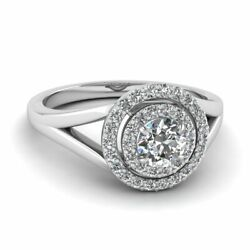 1/2 Ct Round Cut Diamond Engagement Double Halo Split Shank Style Ring Si2