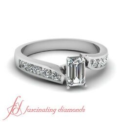 3/4 Carat Emerald Cut Diamond Twine Edged Channel Set Engagement Rings For Women