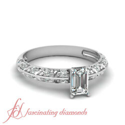 .65 Ct Emerald Cut Natural Diamond Crusted Knife Edge Pave Set Engagement Ring