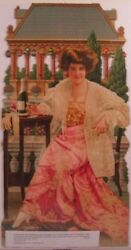 Beautiful Victorian Die-cut Of An Elegantly Dressed Lady Holding Champagne Glass