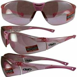 Global Vision Womens Motorcycle PINK MIRROR Sunglasses Safety Glasses ANSI Z87.1