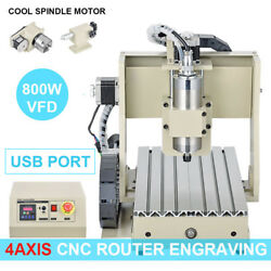 220V 800W VFD USB PORT CNC Router 4AXIS 3020 Milling Engraver Drilling Machine