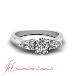 1 Carat Oval Shaped Si2-d Color Diamond 3 Stone Tapered Engagement Ring 14k Gia
