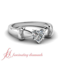 Dual Knot Design Solitaire Engagement Ring 0.90 Ct Heart Shaped H-Color Diamond