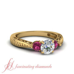 Vintage Style 3 Stone Engagement Ring With Round Cut Diamond And Sapphire 0.90 Ct