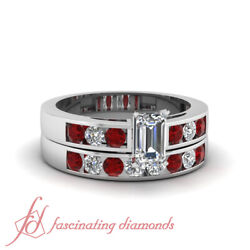 1 Carat Emerald Cut Diamond And Red Ruby Wedding Rings Channel Set Si1-e Color Gia