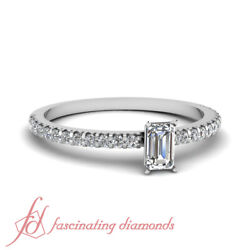 Affordable Engagement Ring 0.70 Ct Emerald Cut And Round Diamond In 14k Gold Gia