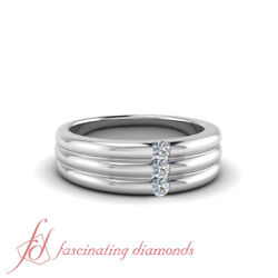 .20 Ct Round Cut Diamond Triple Lined Style Wedding Band Channel Set 14k Gold
