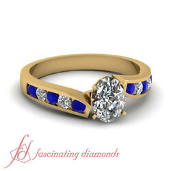 Simple Blue Sapphire And Diamond Yellow Gold Ring With Oval Shaped 0.75 Carat Gia