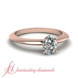 1/2 Ct Oval Shape Solitaire Knife Edge Diamond Rings For Women In Rose Gold Gia
