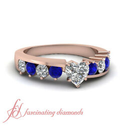 1.25 Ct Heart Shaped Diamond And Sapphire Handmade Engagement Rings For Women Gia