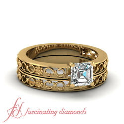 1/2 Ct Solitaire Carved Floret Wedding Ring Diamond For Women With Asscher Cut