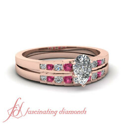 3/4 Carat Pear Shaped Diamond And Pink Sapphire Womens Bridal Rings Channel Set