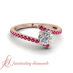 14k Rose Gold Round Cut Diamond Engagement Rings With Pink Sapphire 0.90 Ct