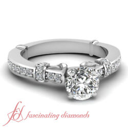 Womens Engagement Rings Pave Set With Round Untreated Diamond In Center 0.80 Ct