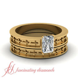 Solitaire Engraved Cross Design Wedding Sets With 0.60 Ct Radiant Cut Diamond