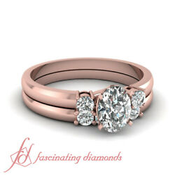 3/4 Ct Past Present Future Wedding Rings Set With Oval Shaped Natural Diamond