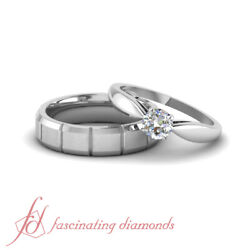 1/2 Ct Round Cut Diamond Tapered Solitaire Wedding Rings Set For Bride And Groom