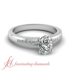 .70 Ct Oval Shaped Conflict Free Diamond Simple Engagement Rings Channel Set Gia