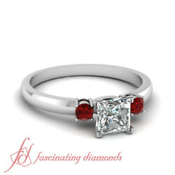 3/4 Carat Red Ruby With Princess Cut Diamond Past Present Future Engagement Ring