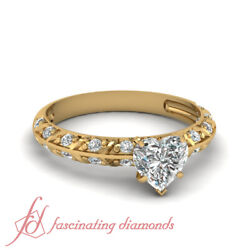 Knife Edge Pave Set Diamond Rings With 1 Ct Heart Shaped And Round Side Accents