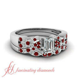 1 Carat Ruby And Diamond White Gold Engagement Rings For Women Emerald Cut Gia