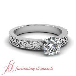 0.60 Ct Round Cut Diamond Shamrock Carved Solitaire Engagement Ring Gia