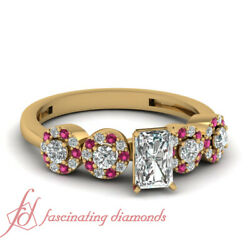 Pave Engagement Ring 0.80 Ct Radiant Cut Yellow Gold Diamond And Pink Sapphire Gia
