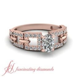 Rose Gold Pave Set Diamond Rings For Women With Center Cushion Cut 0.85 Ct Gia