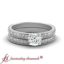 Solitaire Vintage Engraved Wedding Rings Set With Half Carat Cushion Cut Diamond