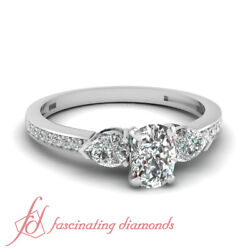 .90 Ct Cushion Cutvery Good Diamond Engagement Ring Pave Set 14k Gia Certified