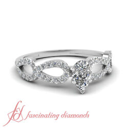 .80 Ct Pear Shape Very Good Cut Diamond Engagement Pave Set Ring Si1-f Color Gia