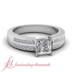 .80 Ct Princess Cut Natural Diamond Double Row Channel Set Engagement Ring Si1