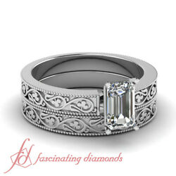 .55 Ct Emerald Cut Diamond Solitaire Shamrock Carved Wedding Rings Set Si1 Gia