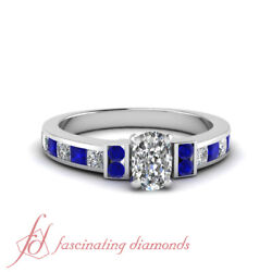 1.7 Ct Cushion Cut Diamond And Round Blue Sapphire Engagement Ring Channel Set Gia