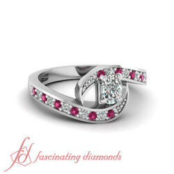 1.10 Ct Cushion Cut Si1 Diamond And Round Pink Sapphire Engagement Ring Pave Set