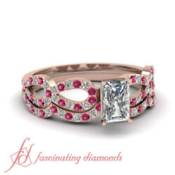 1 Ct Radiant Cut Diamond And Pink Sapphire Accents Infinity Wedding Ring Set Gia