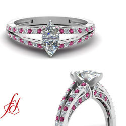 .85 Ct Marquise Cut Diamond And Pink Sapphire Split Engagement Ring Si1-e Color