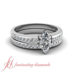 .90 Ct Marquise Cut Si1 Diamond White Gold Wedding Set For Women Channel Set